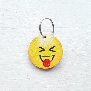 Emoji squinting face with tongue face keychain